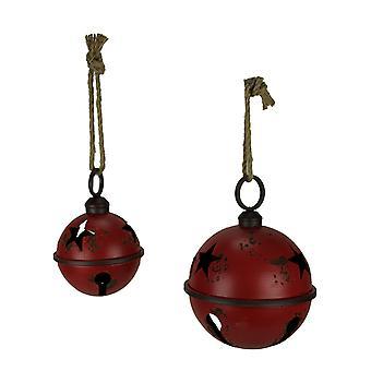 Rustic Red Metal Hanging Giant Jingle Bell Ornament Set