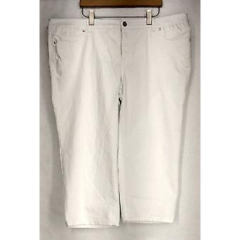 INC Plus Jeans Slim Tech Fit Cropped Denim Jeans Femme blanche