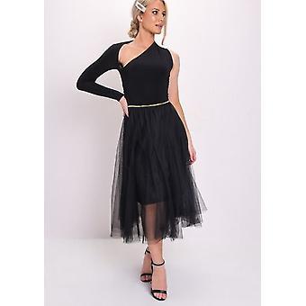 Guld detalj Tulle mesh MIDI kjol svart