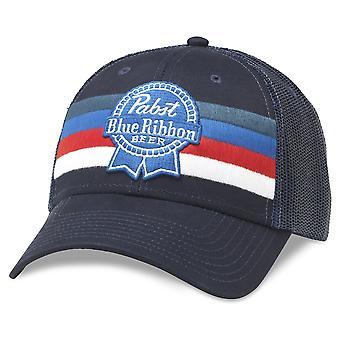 Pabst Blue Ribbon Beer Striped Adjustable Royal Navy Snapback Hat