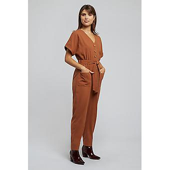 Louche Percy Wooden Button Jumpsuit Orange