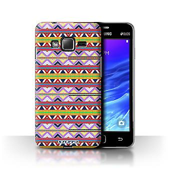 STUFF4 Case/Cover for Samsung Z1/Z130/Purple/Red/Aztec Tribal Pattern