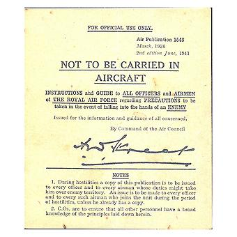 WW2 Pilot's Instruction Card - 'Not to Be Carried in Aircraft'