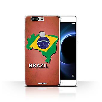 STUFF4 Case/Cover for Huawei Honor V8/Brazil/Brazilian/Flag Nations