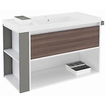 Bath+ 1 Drawer Cabinet + Shelf With Resin Basin Fresno-White-Grey 100cm