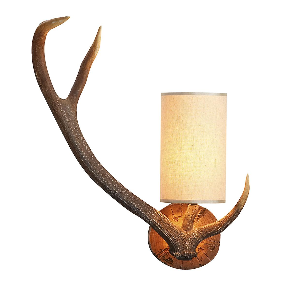 David Hunt ANT0729L Antler Left Wall Light In A Natural Rustic Finish - Shade Included