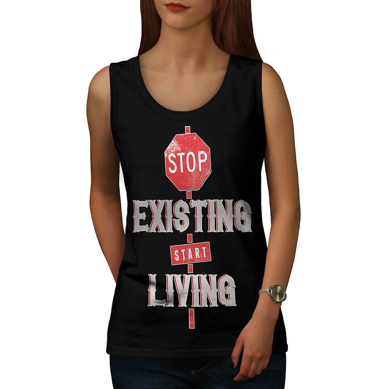 Existing Start Living Difference Women Black Tank Top | Wellcoda