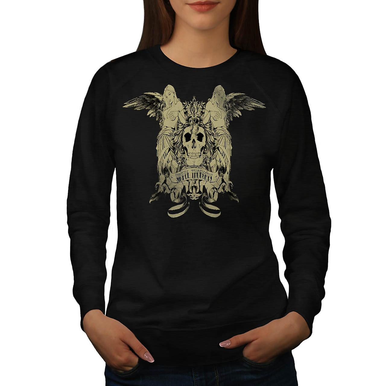 Sinful Thought Sexy Skull Skull Angel Women Black Sweatshirt | Wellcoda