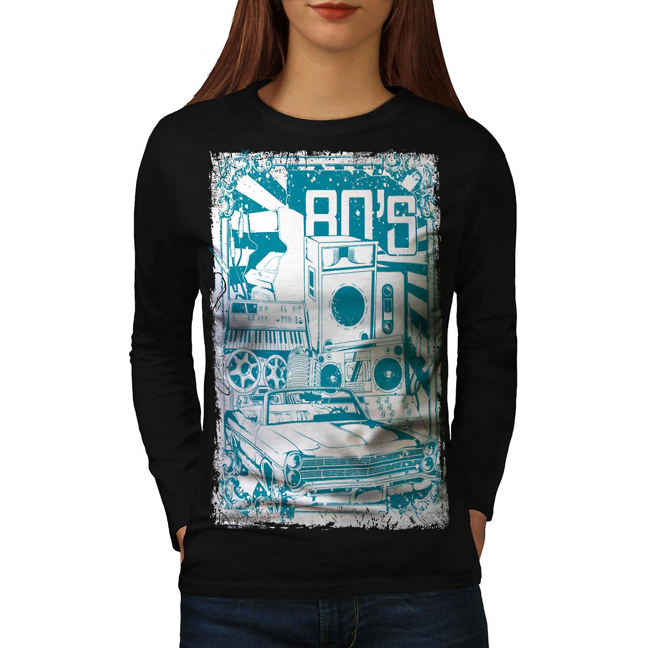 DJ 80's Theme Night Music Car Women Black Long Sleeve T-shirt | Wellcoda