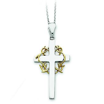 Sterling Silver Accent gold plating Cross Necklace - 6.3 Grams - 18 Inch