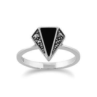 Gemondo 925 Sterling Silver 0.5ct Black Onyx & Marcasite Art Deco Ring