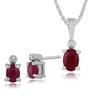 Gemondo 9ct White Gold Ruby & Diamond Stud Earrings & 45cm Necklace Set