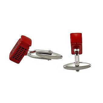 Röd emalj brittisk telefonkiosk manschettknappar