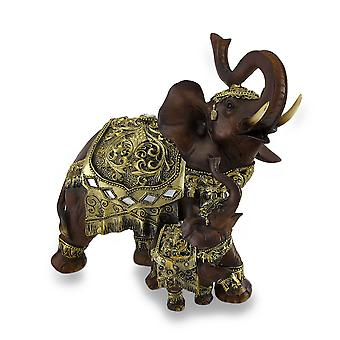 Exotic Wood Look Trumpeting Mother and Calf Thai Elephant Statue