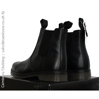 UK 6 - UK 13 Amblers Waxy Black Oily Leather Double loop Mens Chelsea air Boots