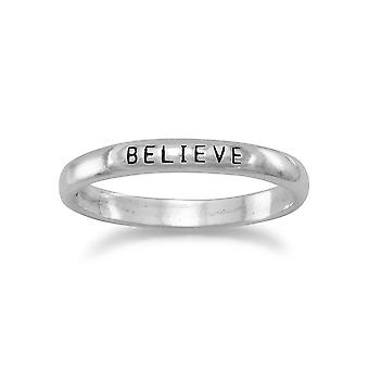 Oxidized Sterling Silver 2.5mm Band With Believe ACross The Top Ring - Ring Size: 5 to 9