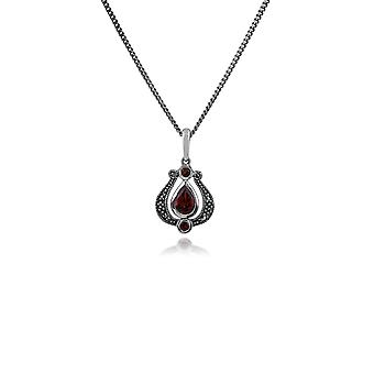 Gemondo Sterling Silver Garnet & Marcasite Art Nouveau 45cm Necklace