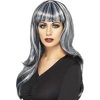 Wig sinister siren black long wavy with Pony and gray strands