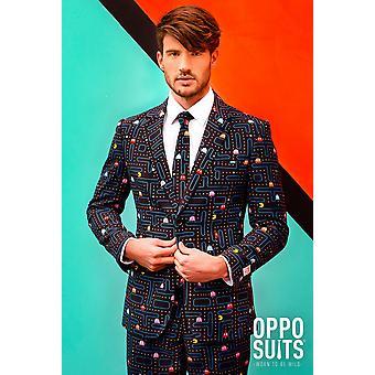 パックマン パックマン レトロな 80 年代 Opposuit スーツ スリムライン メンズ 3 点プレミアム EU サイズに合わせて