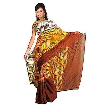 Banni Georgette afgedrukt Casual Saree Sari buikdansen stof