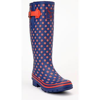 Evercreatures Ladies Multisun Wellies Navy with Orange Dots - Various Sizes