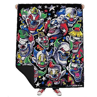 Evil Coloured Clowns  Fleece Blanket  Throw