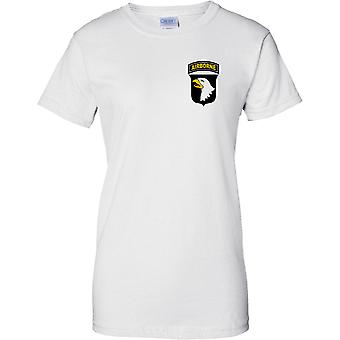 US Army 101st Airborne Division - Screaming Eagles - Ladies Chest Design T-Shirt