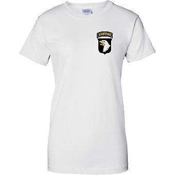 US Army 101st Airborne Division - Screaming Eagles - Ladies Brust Design T-Shirt