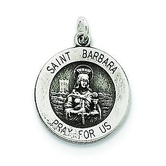 Sterlingsølv Solid Satin Engravable antikke finish St. Barbara medalje vedhæng - 1,4 gram