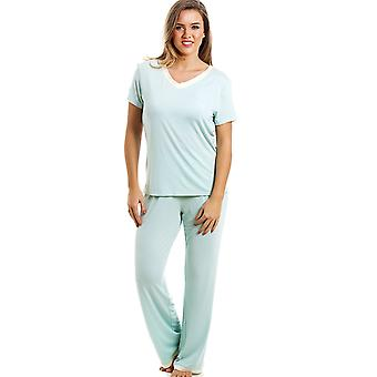 Camille Stylish Full Length Short Sleeve Mint Green Pyjama Set