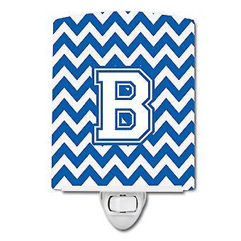 Letter B Chevron Blue and White Ceramic Night Light