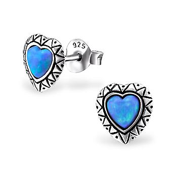 Heart - 925 Sterling Silver Opal And Semi Precious Ear Studs - W23667x