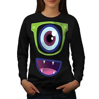 Cute Monster Eye Women BlackSweatshirt | Wellcoda