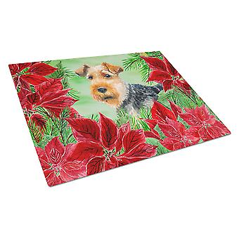 Welsh Terrier Poinsettas Glass Cutting Board Large