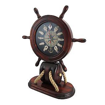 عجلة السفن الخشبية وعقده ميل بحري رف على مدار الساعة