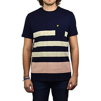 Lyle & Scott Wide rayas camiseta (Armada)