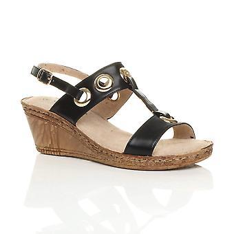 Ajvani womens meados Cunha salto plataforma de suporte t slingback conforto sandálias