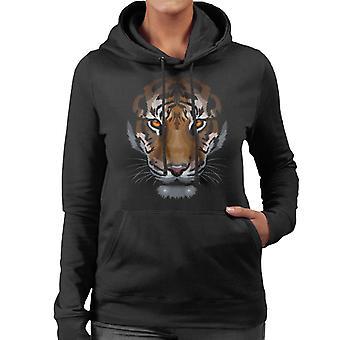 Shadow Face Tiger Women's Hooded Sweatshirt