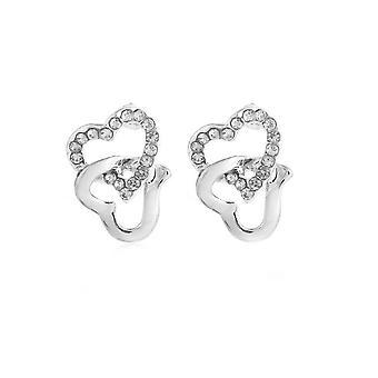 Womens Silver Tone Stud Earrings Chained Heart Diamante