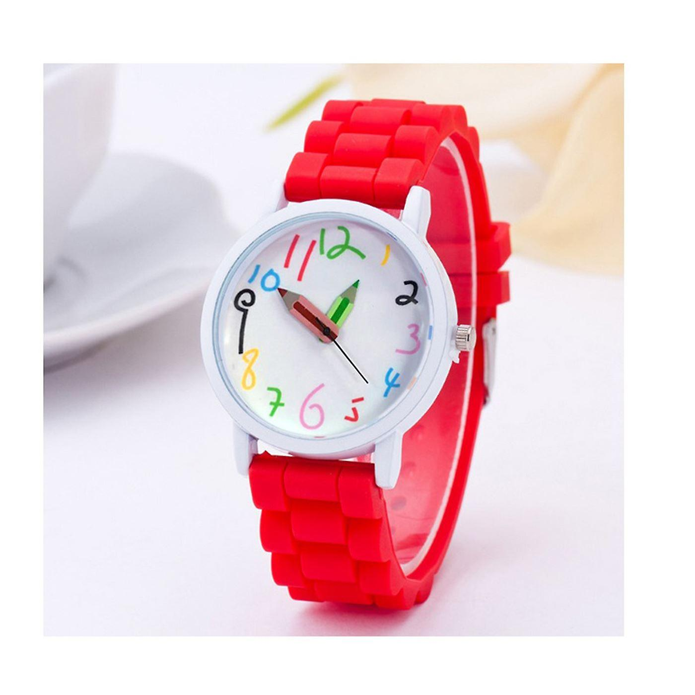 First Kids Childrens Girls Boys Watch Red Crayon Paint Colour Pencil Tell Time