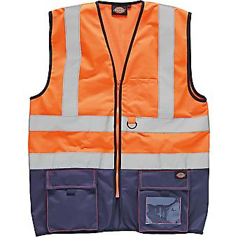 Dickies Mens High Visibility Viz Two Tone Sleeveless Waistcoat Vest