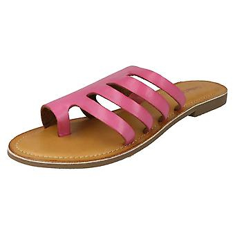 Ladies Leather Collection Flat Strappy Sandals F00125 - Fuchsia Leather - UK Size 7 - EU Size 40 - US Size 9