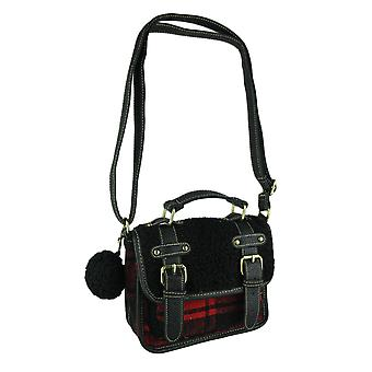 Red and Black Fleece and Flannel Pom Pom Charm Crossbody Bag