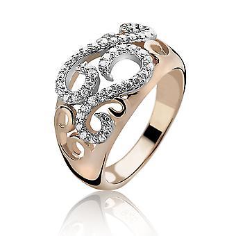 Orphelia sølv 925 Ring Rose Design Zirconium ZR-3894