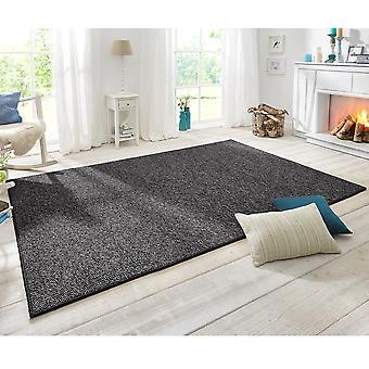 Design gulvtæppet wolly i uld optik Anthazit