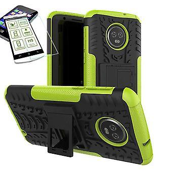 Für Motorola Moto G6 Plus Hybrid Case 2teilig Grün + Hartglas Tasche Hülle Cover Hülle