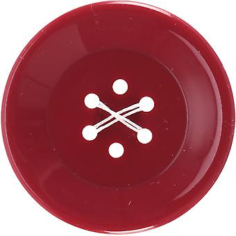 6 Hole Buttons-Large Burgundy 1-3/4