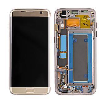 A tela LCD Samsung Galaxy S7 borda SM-G935 e digitador - ouro