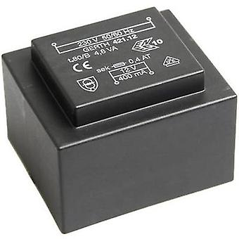 PCB mount transformer 1 x 230 V 2 x 12 V AC 4.80 VA 200 mA