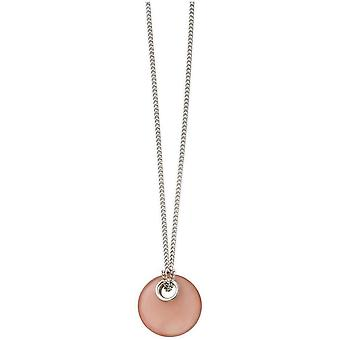 Beginnings Chalcedony Round Pendant - Pink/Silver
